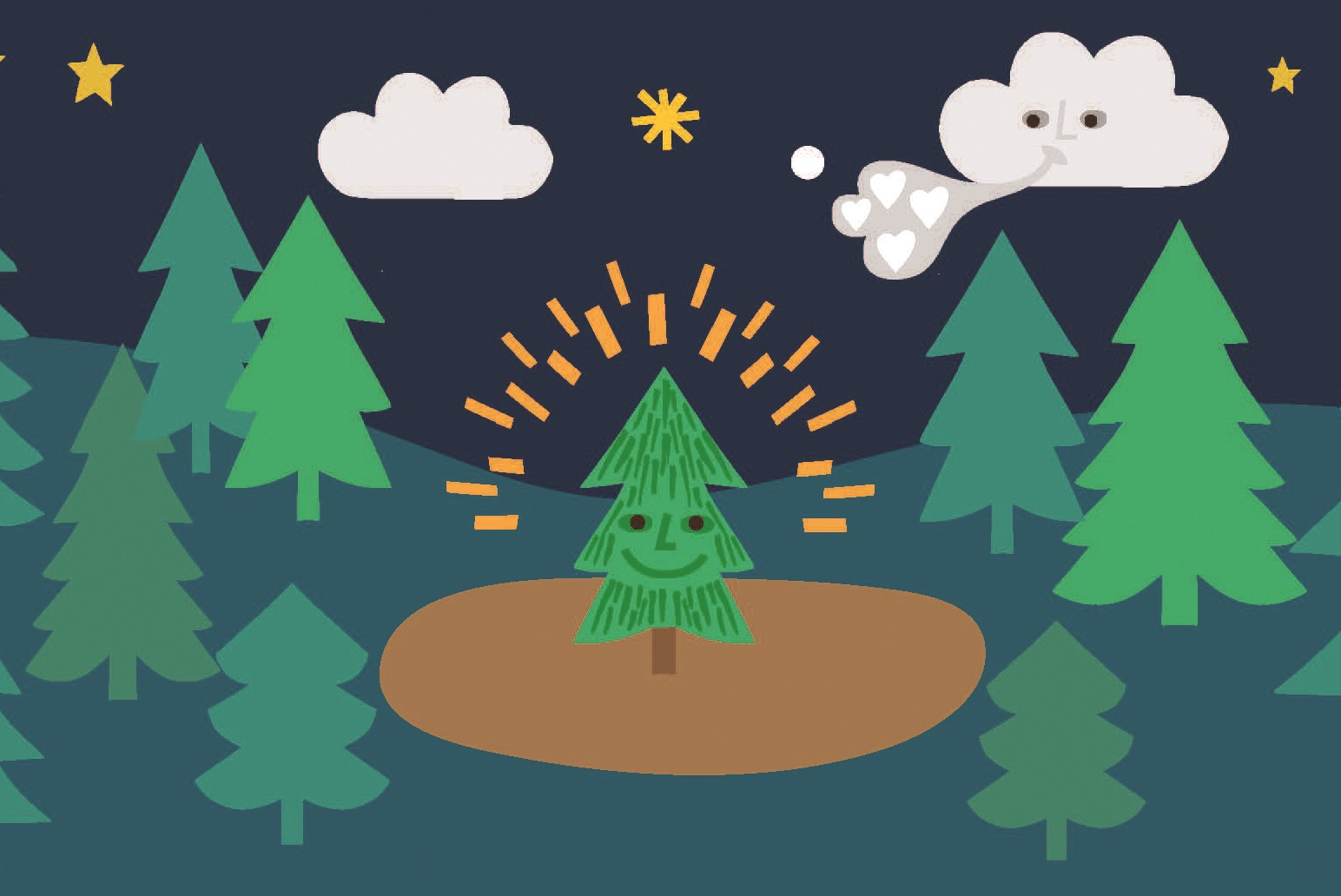 Illustration of a small Christmas tree smiling in a forest