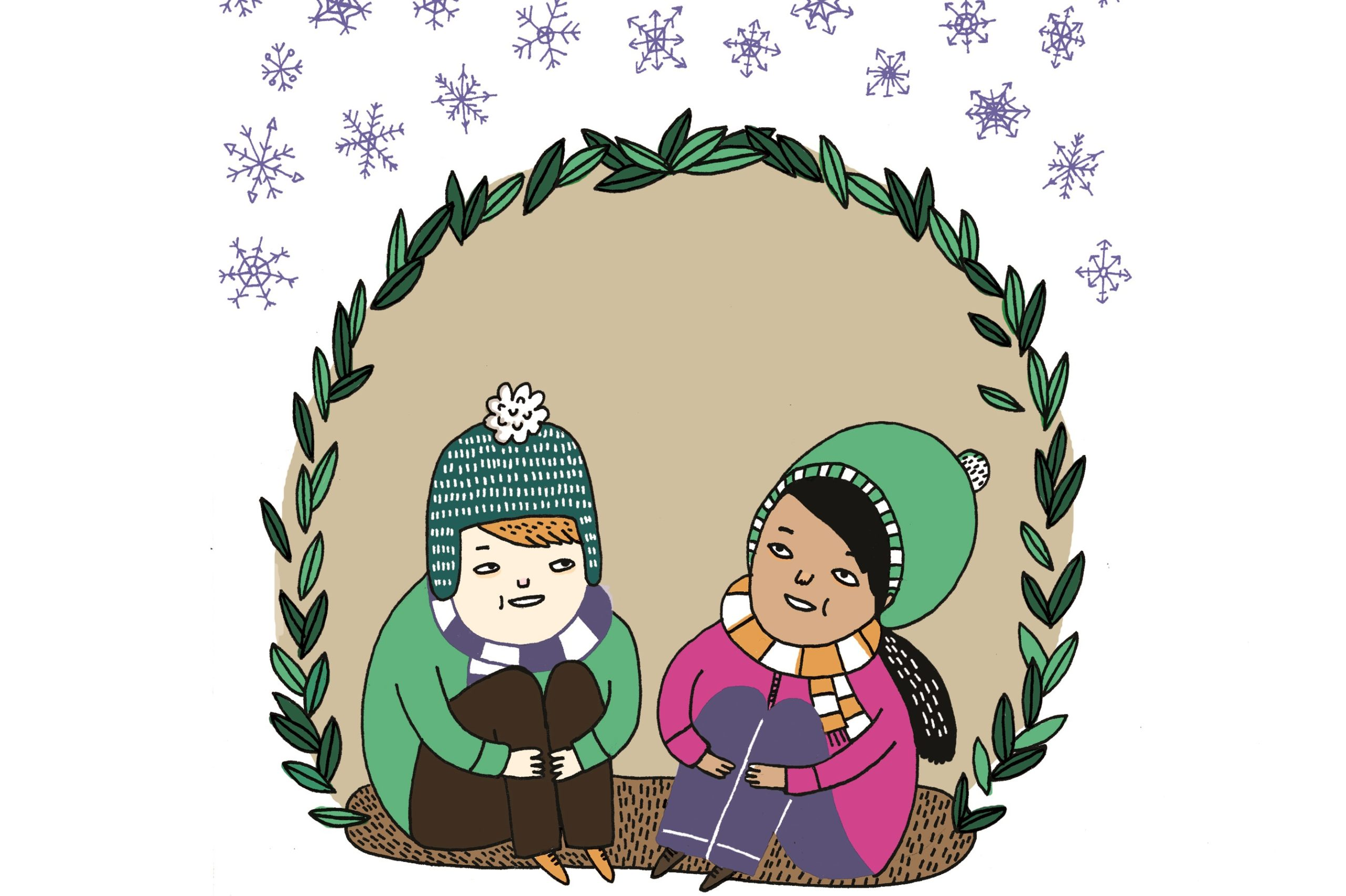 Gemma Correll illustration of two children wearing coats and hats sitting under snow