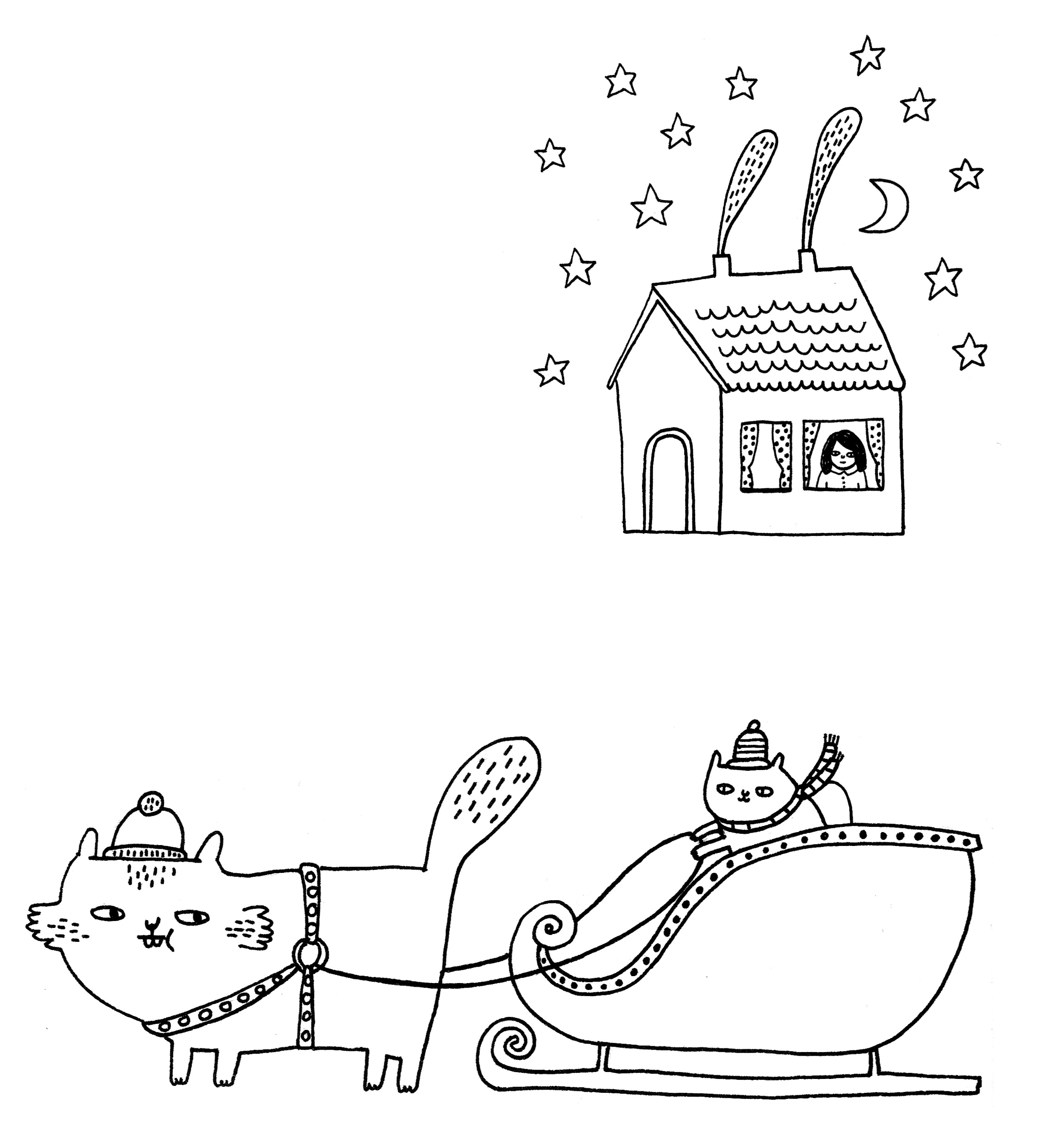 Gemma Correll illustration of a cat in a sled led by a bigger cat