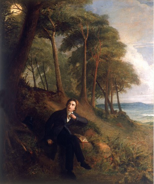 Oil painting of John Keats on Hampstead Heath listening with a background of trees.