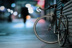 bicycle with background of streetlights