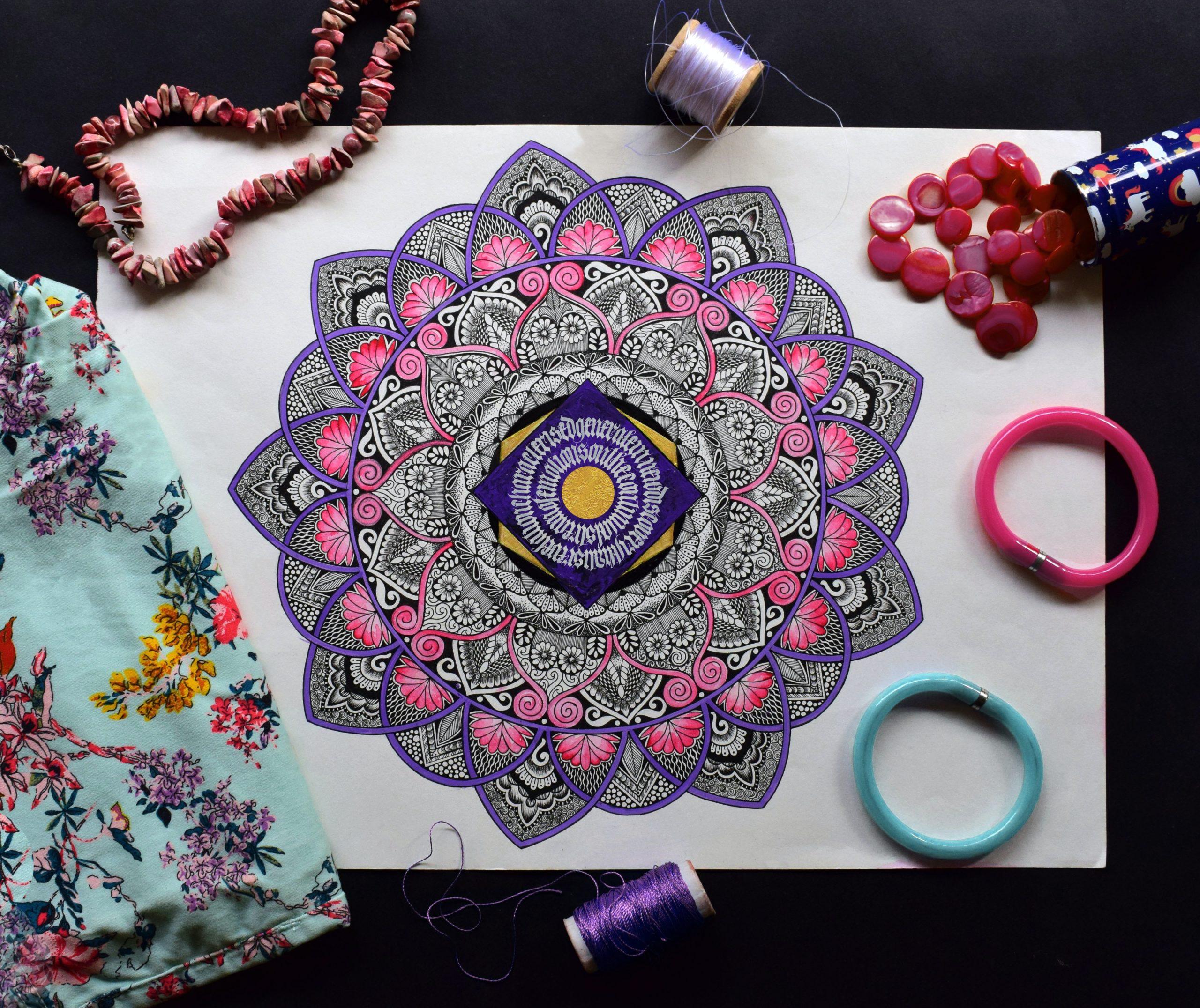 mandala in pink, purple, and blue
